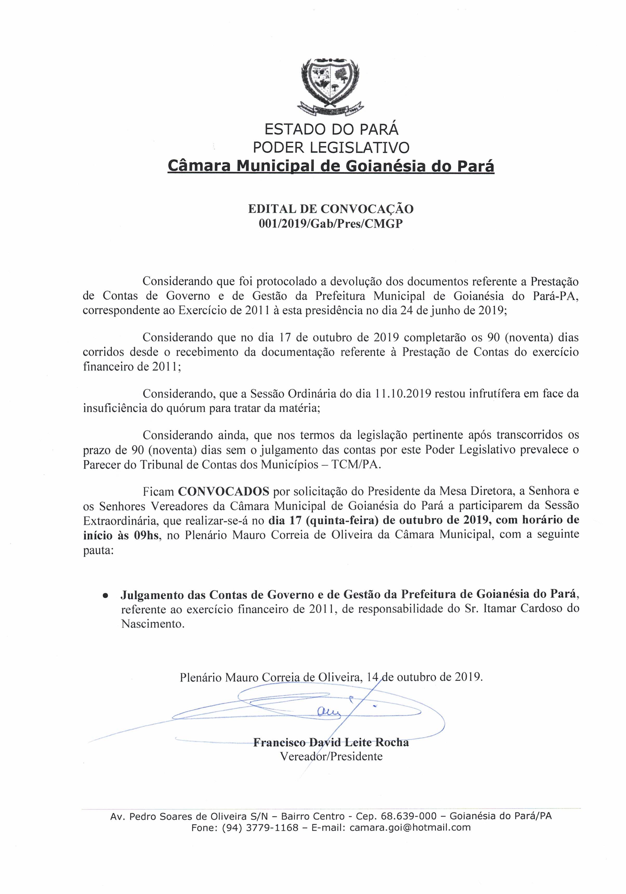 Edital de Convocação - Contas 2011 - Executivo Municipal